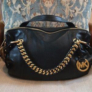 Michel Kors satchel black leather handbag
